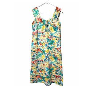Vntg 80s Knit Hawaiian Floral Print Sundress Bow M